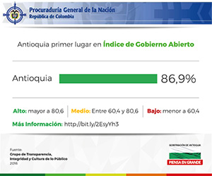 Antioquia primer puesto en índice de Gobierno Abierto